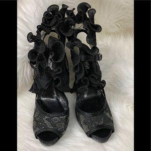 Black Lace Wild Rose Lace Heels